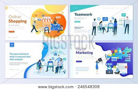 Set Of Web Page Design Templates For Online Shopping, Digital Marketing, Teamwork, Business Strategy