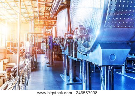Interior Of Chemical Factory Or Plant Workshop With Metal Industrial Manufacturing Production Equipm