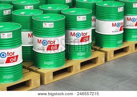 3d Render Illustration Of The Group Of Green Stacked Metal Drum Canisters Or Barrel Containers With