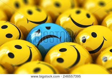 Creative Abstract 3d Render Illustration Of The Macro View Of Single Dull And Sad Blue Smiley Among