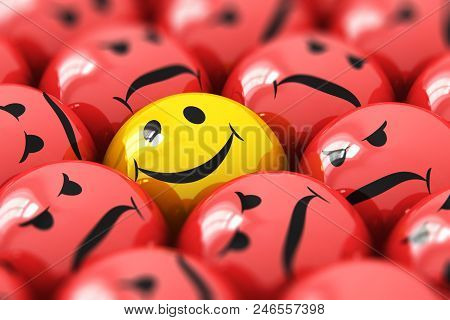 Creative Abstract 3d Render Illustration Of The Macro View Of Single Happy Yellow Smiley Among Red A