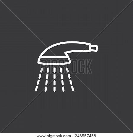 Thin Line Shower Icon On Dark Background