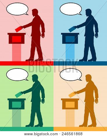 male voter silhouettes with different colored speech bubble by voting for election. All the silhouette objects and backgrounds are in different layers. poster