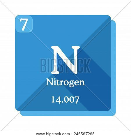 Nitrogen Chemical Element. Periodic Table Of The Elements. Nitrogen Icon On Blue Background. Vector