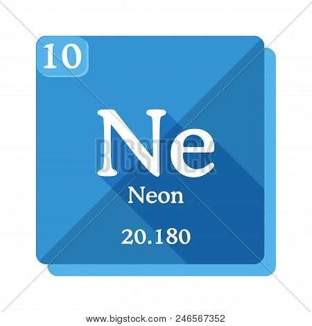 Neon Chemical Element. Periodic Table Of The Elements. Neon Icon On Blue Background. Vector Illustra