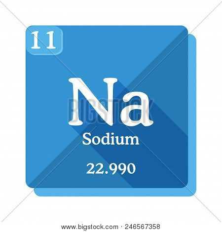 Sodium Na - Element Of The Periodic Table. Sodium Icon On Blue Background. Vector Illustration In Fl