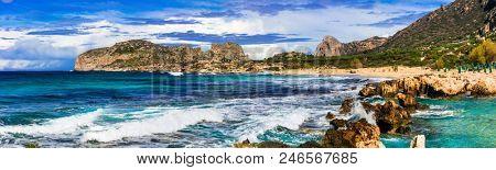 wild beauty of Crete island. Picturesque Falasarna beach. amazing Greece seies