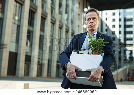 Personal Things. Elderly Man Wearing Stylish Suit Going Home With Box Of Personal Things After Offic