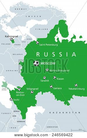 Football In Russia 2018, Map Of Venues. Soccer. European And Western Part Of Russian Federation With