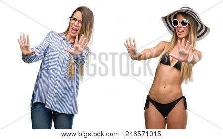 Young beautiful blonde woman wearing business and bikini outfits afraid and terrified with fear expression stop gesture with hands, shouting in shock. Panic concept.