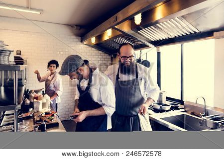 Chef coooking in restaurant kitchen