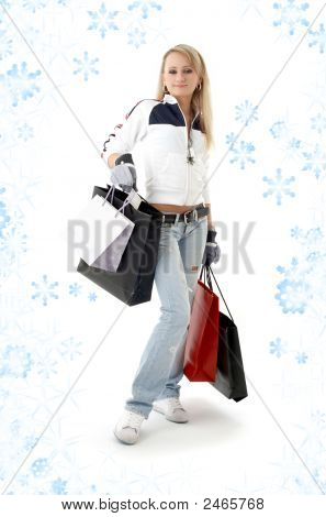 Shopping Teenage Girl With Snowflakes