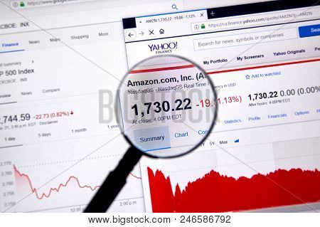 Montreal, Canada - June 22, 2018: Amazon Amzn Ticker And Price Shares With Charts Under Magnifying G