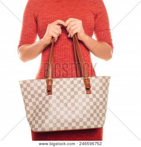 Picture Of Lovely Woman In Red Dress With Fashionable Checkered Bag