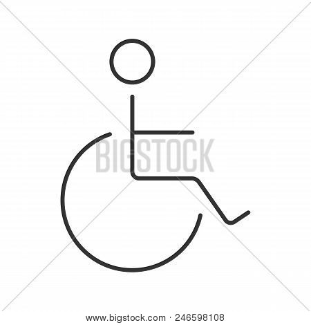 Disabled Person In Wheelchair Linear Icon. Thin Line Illustration. Service For People With Disabilit