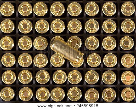 Cartridges Of 9mm Pistols Ammo. High Resolution Photo.