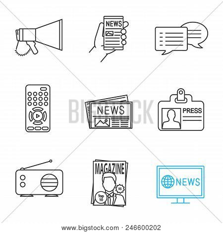 Mass Media Linear Icons Set. Megaphone, Online News, Chat, Tv Controller, Newspaper, Press Id Card,