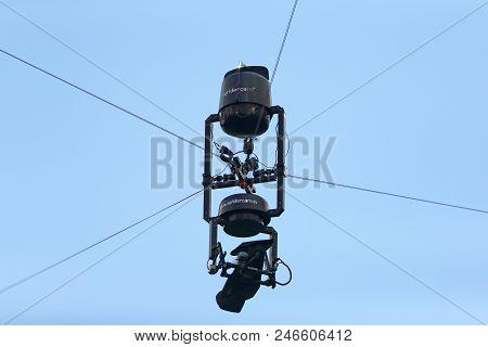 Marseille, France - June 21, 2016: Flying Tv-camera (spidercam) Seen On The Stade Velodrome Stadium