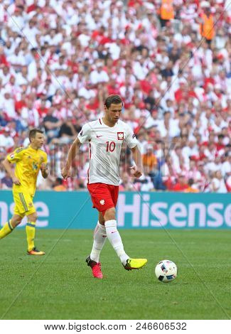 Marseille, France - June 21, 2016: Grzegorz Krychowiak Of Poland Controls A Ball During The Uefa Eur