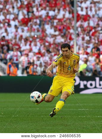 Marseille, France - June 21, 2016: Taras Stepanenko Of Ukraine Kicks A Ball During The Uefa Euro 201