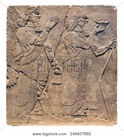 Assyrian art on the wall, King Ashurnasirpal II and genius. poster