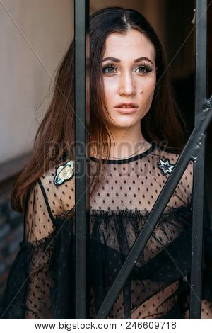 Portrait Of A Young, Beautiful Girl. The Brunette In A Black Dress Is Standing Near The Cage With Bl