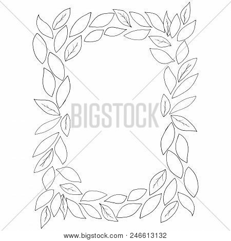 Pattern Of Leaves. Vector Of A Frame Of Autumn Leaves. Hand Drawn Autumn Leaves. Autumn Theme, Empty