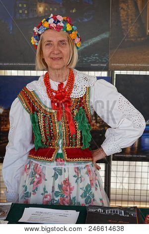 Lyon, France, June 23, 2018 : Traditional Dress From Poland. The Fetes Consulaires Stand On Place Be