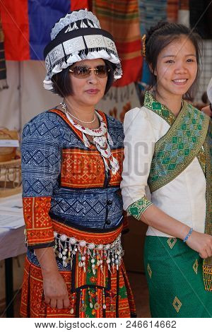 Lyon, France, June 23, 2018 : Women From Laos. The Fetes Consulaires Stand On Place Bellecour Around