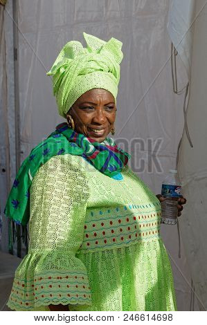 Lyon, France, June 23, 2018 : Woman In Traditional Dress From South Africa. The Fetes Consulaires St