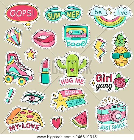 Fun Fashion Teenage Stickers. Cute Cartoons Patches Food Rainbow Retro Stuff And Motivation Words Do