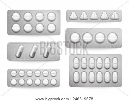 Blister 3d Packs White Paracetamol Pills, Aspirin Capsules, Antibiotics Or Painkiller Drugs Sign. Pr