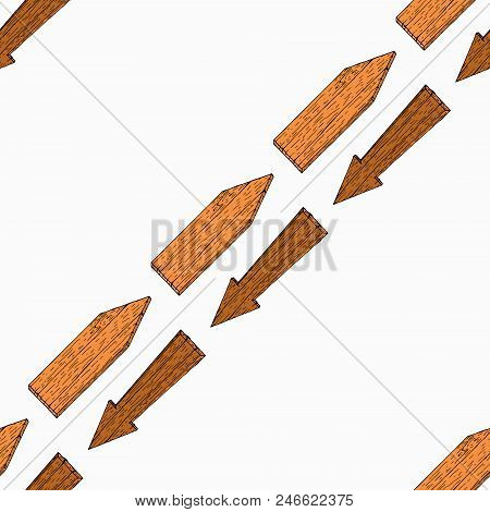 Seamless Pattern With Wooden Arrows. Vector Of A Seamless Background Of Wooden Arrows. Hand Drawn Wo