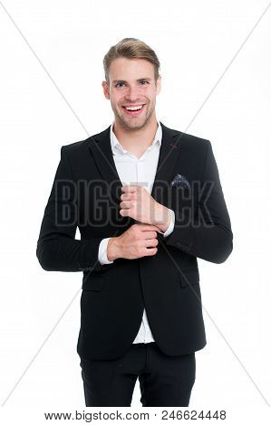 Professional Dress Code. Man Happy Well Groomed In Formal Suit, Isolated White Background. Male Fash