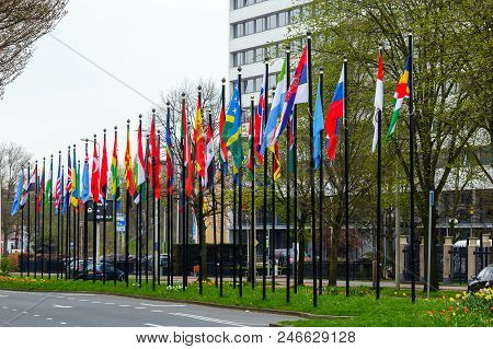 Many Flags On The Street In Europe In The Netherlands As A Symbol Of Friendship Between Peoples And