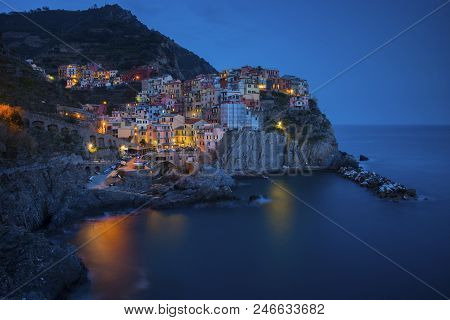 Manarola, 1 Of 5 Fishing Village Of Cinque Terre, Coastline Of Liguria In La Spezia, Italy
