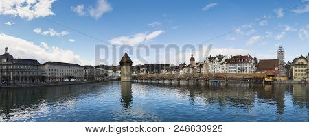 Panoramic View Of City Center Of Lucerne With Famous Chapel Bridge And Lake Lucerne, Switzerland