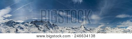 The Famous Mountain. Panoramic Of Matterhorn Peak With Cloudy And Blue Sky From Gornergrat, Zermatt,