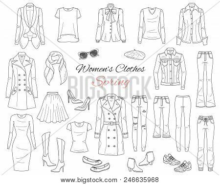 Female Fashion Set. Women Clothes Collection. Spring Outfit Dress, Jeans, Pants, Tops, Jeans Jacket,