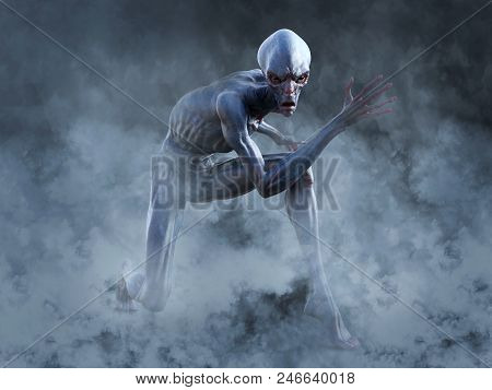 Portrait Of An Alien Creature Crouching And Looking Very Angry, Ready To Attack, 3d Rendering. He Is
