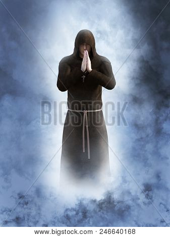 3D Rendering Of A Christian Monk Praying.