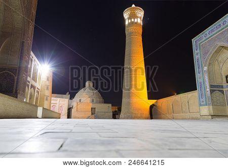 Kalyan Minaret And Miri Arab Madrasah At Sunset, Bukhara, Uzbekistan.
