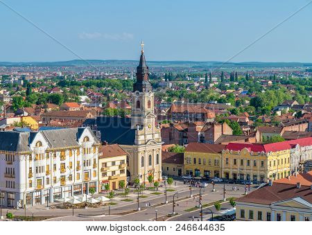 Oradea, Romania - 28 April, 2018:  Church With The Moon In The Union Square Viewed From Above In Ora