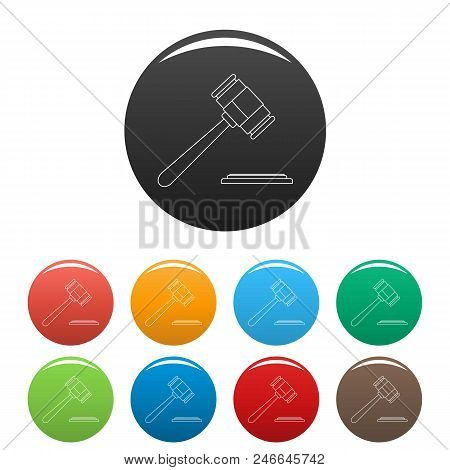 Auction Gavel Icon. Outline Illustration Of Auction Gavel Vector Icons Set Color Isolated On White
