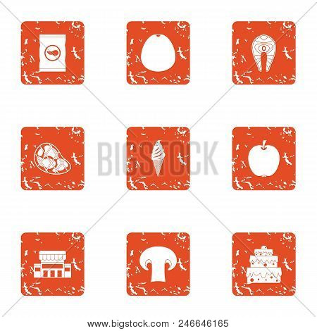 Elite Food Icons Set. Grunge Set Of 9 Elite Food Vector Icons For Web Isolated On White Background