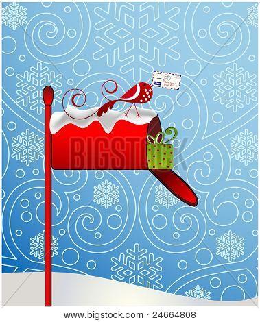 letter to santa whimsical bird.  Envelope addressed to Santa poster