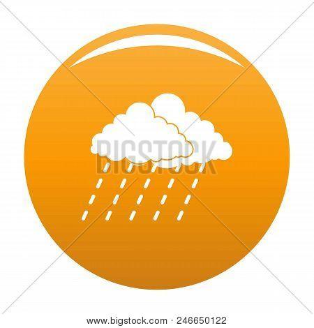 Cloud Rain Storm Icon. Simple Illustration Of Cloud Rain Storm Vector Icon For Any Design Orange