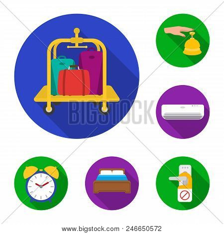 Hotel And Equipment Flat Icons In Set Collection For Design. Hotel And Comfort Vector Symbol Stock
