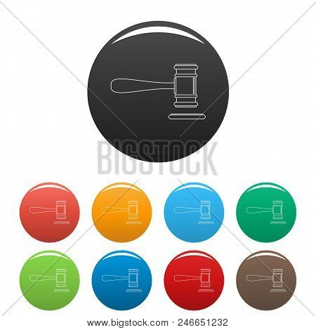 Court Icon. Outline Illustration Of Court Vector Icons Set Color Isolated On White