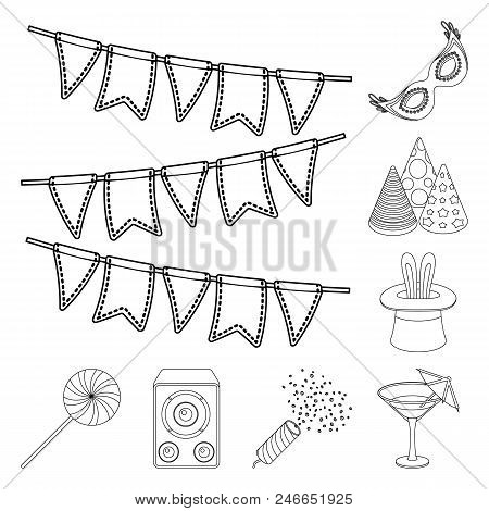 Party, Entertainment Outline Icons In Set Collection For Design. Celebration And Treat Vector Symbol